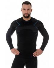 Koszulka męska Brubeck THERMO LS13040A czarno/niebieski